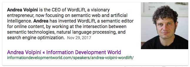 andrea volpini featured snippet