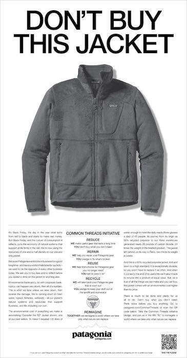 Campagna pubblicitaria Don't Buy This Jacket, articolo di approfondimento sul brand Patagonia di Vanina Basilli