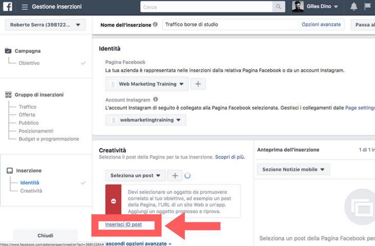 Dove e come inserire l'id dei post di Facebook da sponsorizzare a cura di Gilles Dino Guarino social media manager